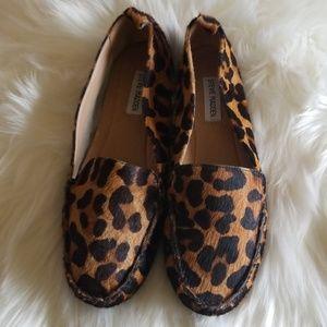 Steve Madden leopard calf hair loafer slip ons